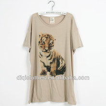 fashion casual t-shirt with lovely tiger print t-shirt for lady,most popular t-shirt