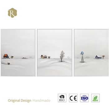 relife 100% handmade snow scenery art oil painting for wall village scenery oil painting