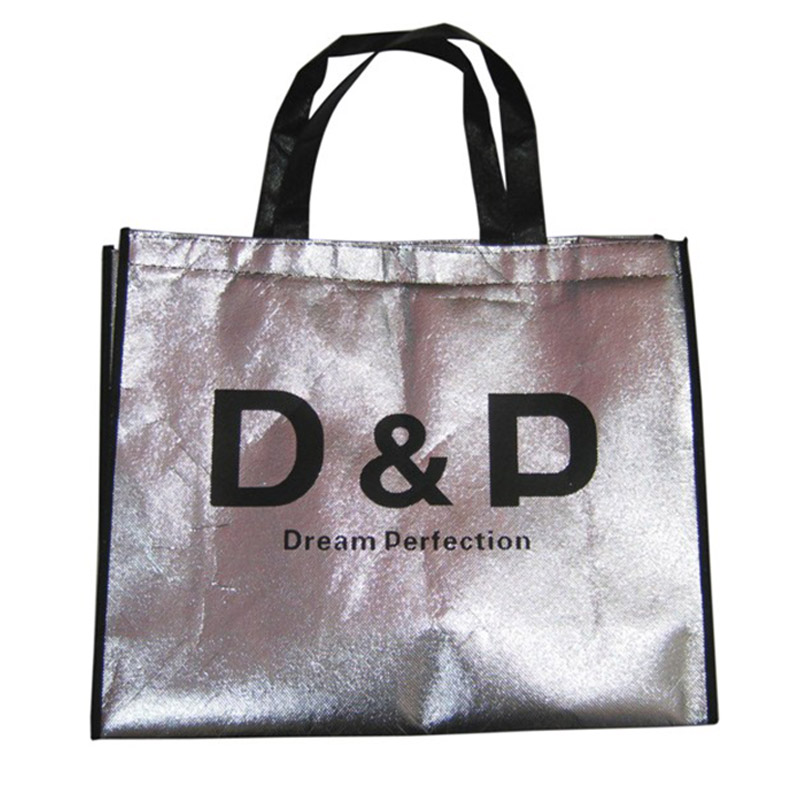 BSCI Audit Factory Custom Silk Screen Logo Printing Beautiful Silver Color shiny Lamination Non Woven Bag with <strong>Tote</strong>