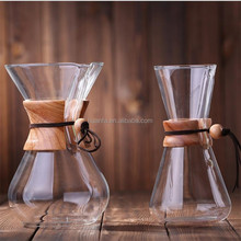 500ml/ 1LBorosilicate glass coffee maker with Classic polished wood collar and leather tie with durable paper filters for home