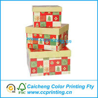 Decoration custom nested xmas gift package handmade paper box