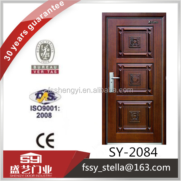 Latest design security steel wooden single metal armored door