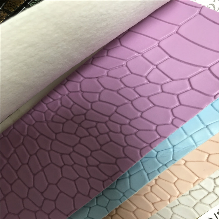 China supplier accepted small order woven backing crocodile embossed belt pvc synthetic leather
