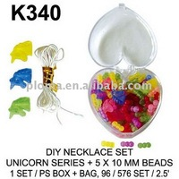 K340 DIY NECKLACE SET : UNICORN SERIES + 5x10 MM BEADS