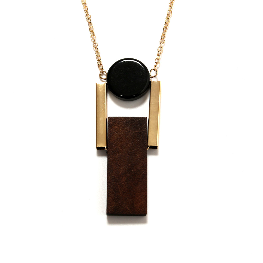 Simple geometric circular resin rectangular wood combination pendant long female necklace