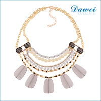 Newest Gold Plating2016 Beaded agate Chain Women Jewellry Double Layer Necklace pendant necklace