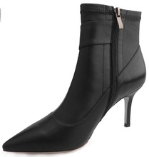 Hot sale Sex And Luxury High Pencil Heel Metal Decoration Lady's Black Ankle Boots