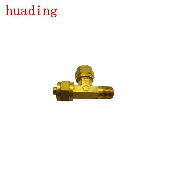 T brass connector with two milled nut ,brass connector using casting or forged techniques