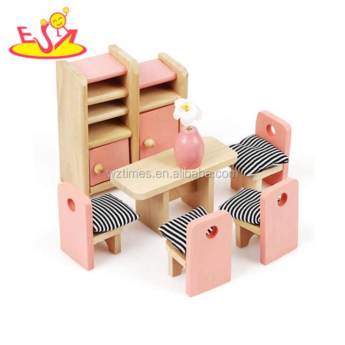 Wholesale delicate simulation living room toy wooden mini furnitures toy for kids W06B065
