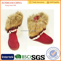 Factory direct sale High ankle big fox hair for collar different color mixed red snow boots