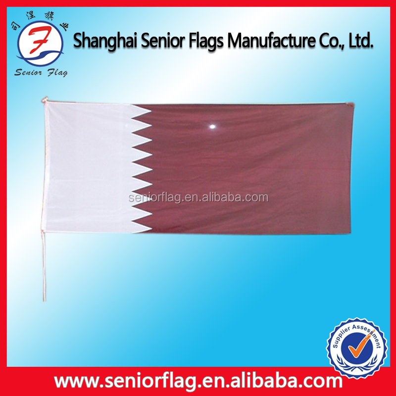 High Quality Polyester Qatar Hand Flag /Qatar National Day Flag in Different Size