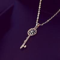 L830079 fashion 24 gram gold necklace designs jewelry key shape pendant short chain necklace for woman