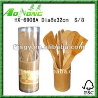 7pcs Bamboo wooden Kitchen Utensil Set with bamboo holder and PVC box Packaing(HX-6908A)