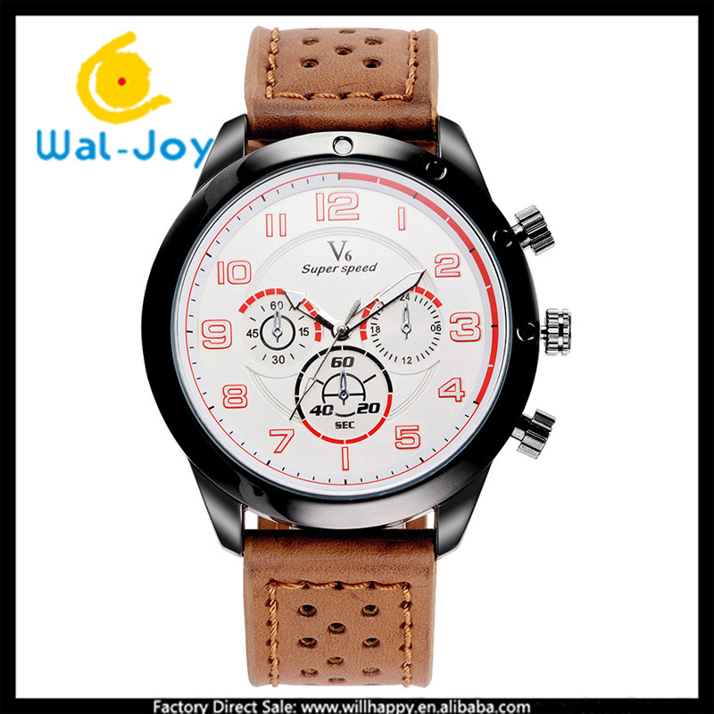 WJ-5431 V6 leather strap three eyes for decorate mountaineering sport men quartz watch
