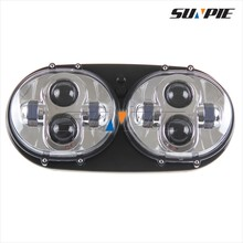 45W Dual LED Front Lights, LED Projector Lens Head Light for Road Glide Ultra Harley motorcycle round headlight