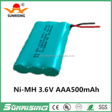 Environment-friendly battery Ni-MH 3.6V AAA 500mAh Battery Rechargeable/China battery factory