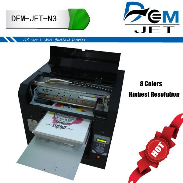 Highest Resolution DTG A2 , Digital Textile Printing Machine With Eight Ink Colors