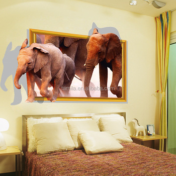 3D fake window sticker Elephant wall stickers decal self adhesive decorative paper kids room wall decals nursery stickers decor
