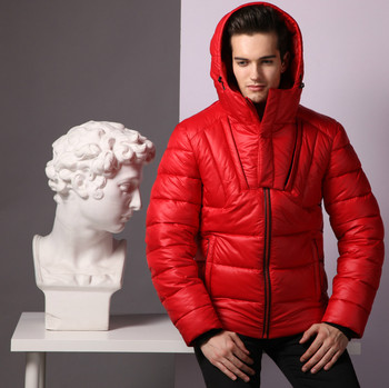 Men Padded Jacket Coat with hood and Zipper