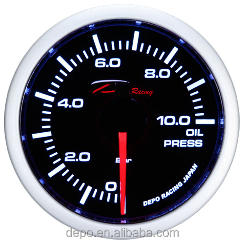 52mm Smoked Lens Oil Pressure Stepper Motor meter Auto Racing Gauge