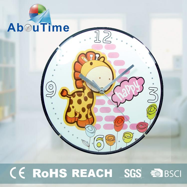 Large display digital cartoon picture wall clock with different shape