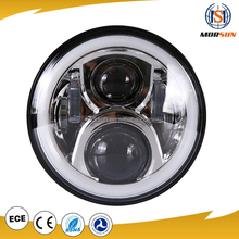 Chrome/ Black 7 inch 50w jeep led projector headlight full halo Hi/Lo beam harley daymaker headlight