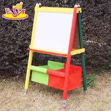 Wholesale best gift kids wooden easel with one side magnetic whiteboard and one side blackboard W12B047