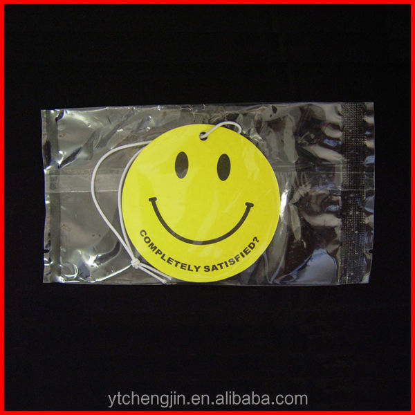 customized paper car air freshener /smiley face car hanging air freshener