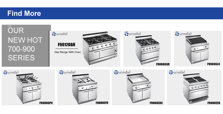 Furnotel Commercial 6-Burner Gas Stove with Oven Manufactures in China