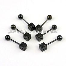 2017 Wholesale New Hot Charm 14G 316L Surgical Stainless Steel plated titanium black with one side dice tongue piercing