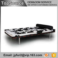 Living Room Furniture Metal Legs Luxury Cowhide Leather Sofa Cum Bed