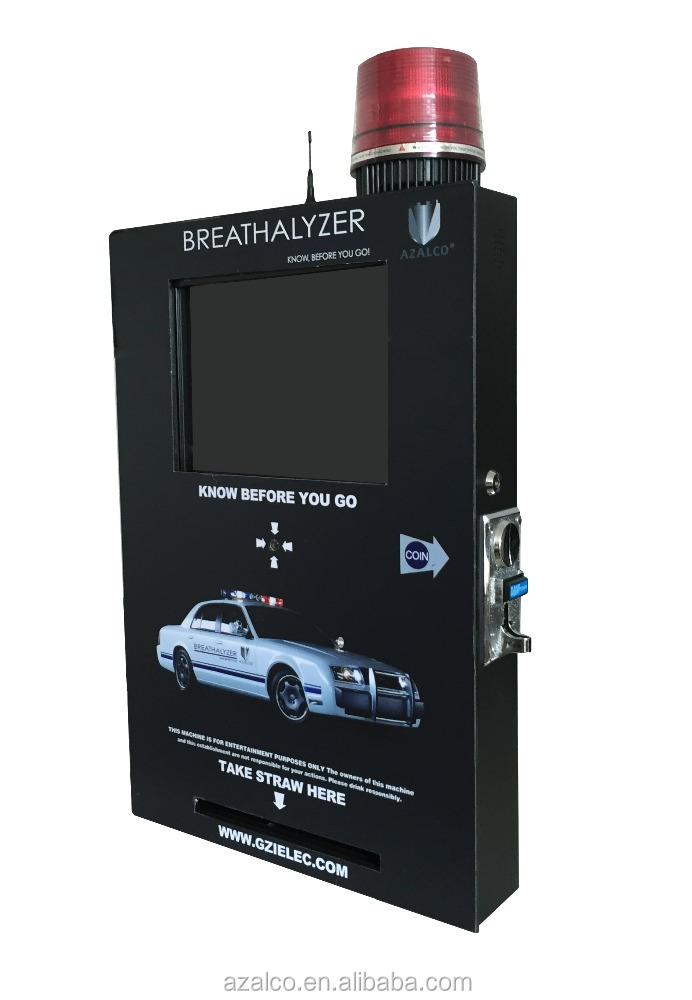 Coin operated M2M vending breathalyzer with touch screen