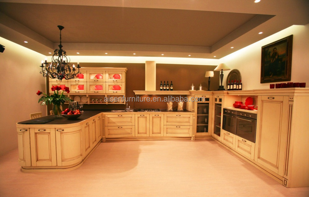 2016 factory direct classic style solid wood kitchen cabinet from