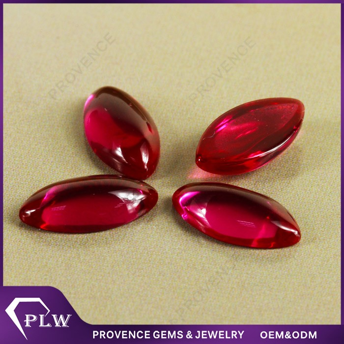Wholesale Price Marquise Cabochon Synthetic Ruby Rough Stone