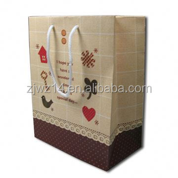 2015 fashion cute pink printed paper shopping gift bags/ stand up customized flour paper bag/ paper bag for packing flour