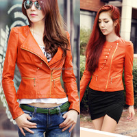 orange pu leather jacket for women, popular short slim jackets and coats, leather jacket for women
