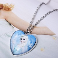 OU6073 wholesale silver jewelry frozen party items,elsa necklace,silver heart necklace