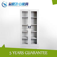 China glass swing door fireproof filing cabinet furniture with 4adjustable shelves