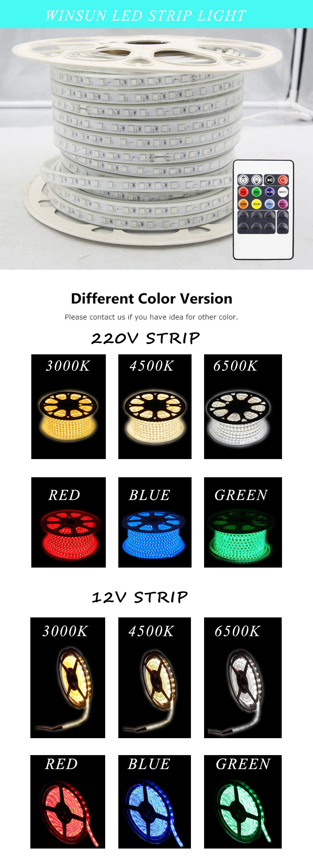5M Remote Control High lumen DC12V smd 5050 rgb led flexible strip light
