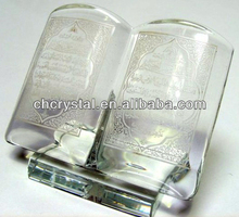 mini clear glass crystal holy qurans gifts,crystal small cheap religious bomboniere quran wholesale MH-L0368