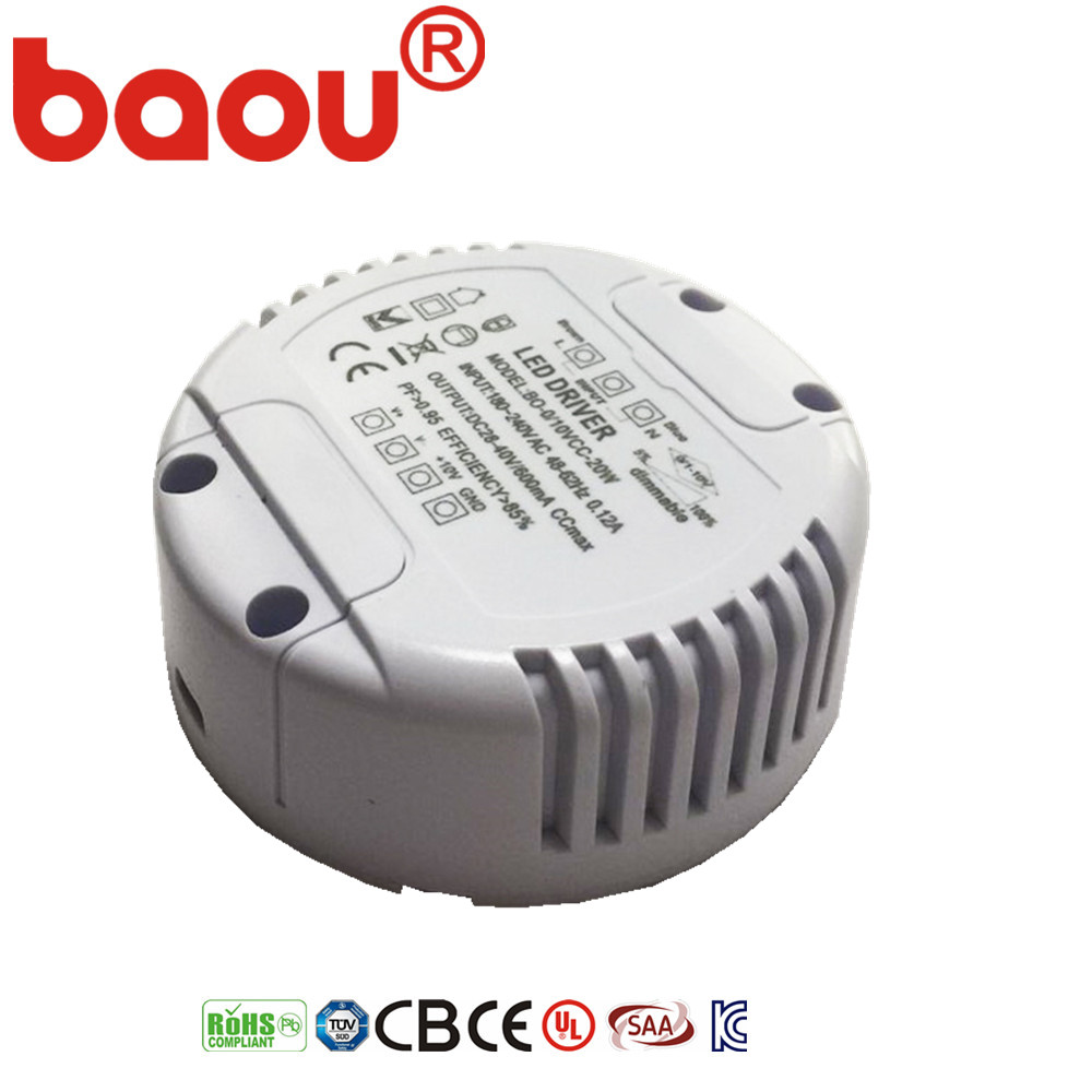 Baou Round 0-10V /Triac dimmable Led driver 30w led power supply