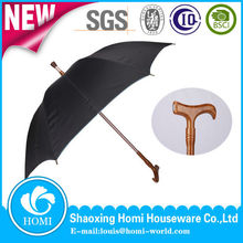 Durable Noble Wooden Shaft Straight Umbrella with Walking Stick