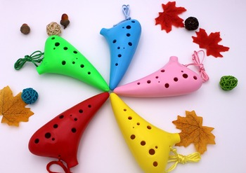 cheap and colorful 12 holes plastic ocarina for sale