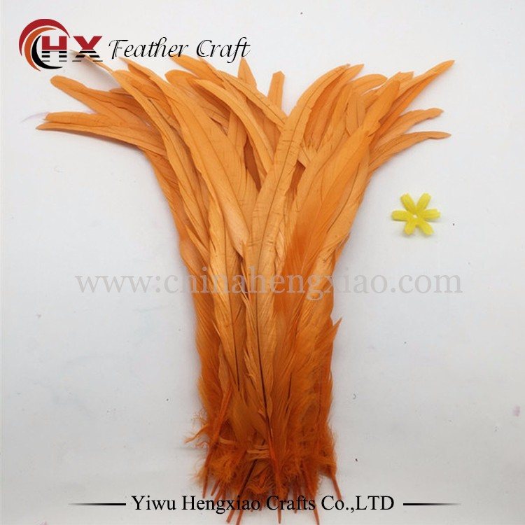 wholesale Orange dyed chicken feather rooster tail feathers for sale