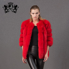 hot sale winter and genuine red fox fur ladies leather fur coats
