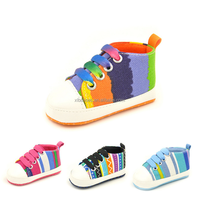 Rainbow color print Infant Baby Shoes Unisex Kids new born canvas baby Shoes 2017