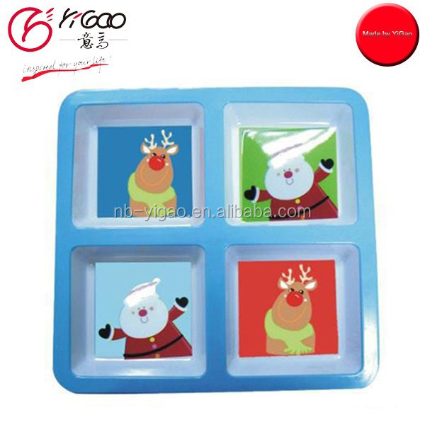 102744 Melamine Tray 4 compart kids christmas plate