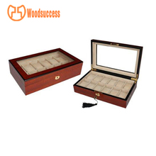 2017 100% Top-quality Business Level 10 Grid Big Size Red Display Wooden Watch Box