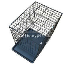 collapsible pet dog cage with plastic tray
