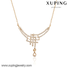 43979 Wholesale luxury ladies jewelry zircon paved special shaped pendant necklace